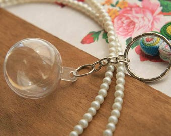 Set of 5 Silver Keychain Kits acrylic Sphere clear 30mm (YQ03S)