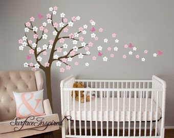 Nursery Tree Wall Decal. Blowing Cherry Blossom Tree Wall decal With Flying Butterflies.