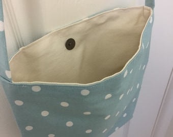 Turquoise spotty bag