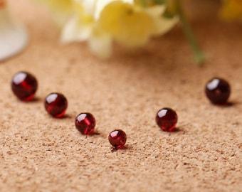20pcs 4mm-6.5mm Natural Garnet Beads, Grade AAA, Smooth Round (GG06)