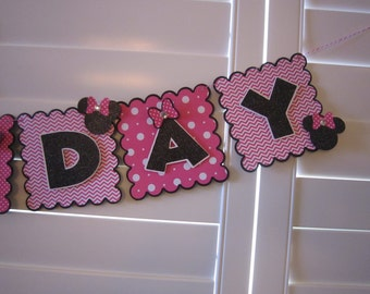 Minnie Mouse Birthday Banner, Minnie Mouse Banner, Personalized Minnie Mouse Banner, Minnie Mouse Birthday , Hot Pink Chevron/Polka Dot