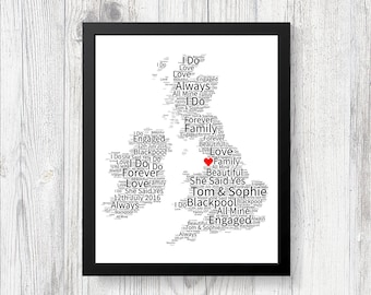 Personalised Map of Love UK BLACKPOOL Word Art Print Gift Keepsake Birthday Christmas Girlfriend Wife Boyfriend Husband Engaged Wedding