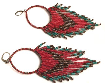 Red, Bronze, and Turquoise Fringe Earrings