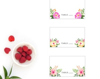 Spring Garden Wedding Place Cards, Printable Name Cards, Seating Cards, Floral, Watercolor, 3.5x2 Place Cards, Digital, Download, Pink