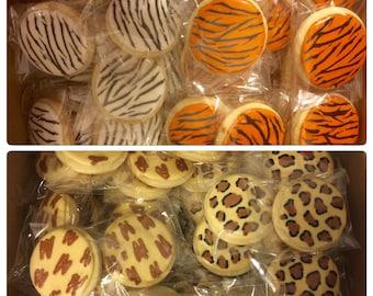 Zoo Animal Print Zebra Cheetah Giraffe Tiger Cookies - 1 Dozen (12 Cookies)