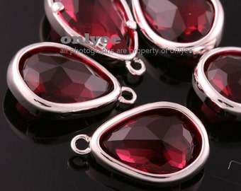 2pcs-17mmX10.5mBright Rhodium Faceted NEW Style Tear Drop With Glass pendants-Ruby(M395S-H)