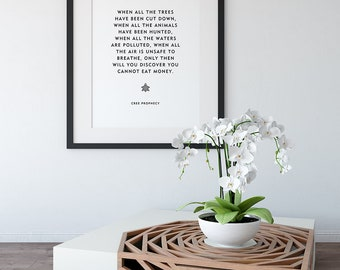 """Native American Quote """"Cree Prophecy"""" Home Decor Print Wall Art Word Art Inspiring Motivational Quote"""