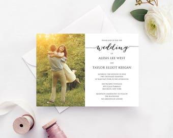 Wedding Photo Invitation Template, INSTANT DOWNLOAD, Self Editing Invite Template, DIY Wedding Printable, Personalized Invitation