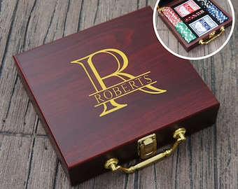 Personalized Poker Gift Set with Cards, Chips, & Dice including Engraved Case with Gold Color Fill (Each)