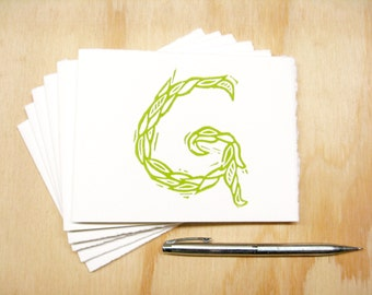Letter G Stationery - Personalized Gift - Set of 6 Block Printed Cards