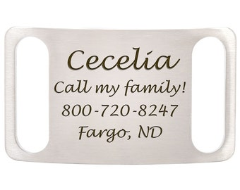 Stainless Steel Laser Engraved Slide-On Dog ID Tags - No More Jingling Tags - For Open Ended Collars