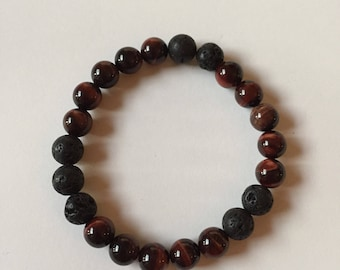 Tiger eye and lava bead, essential oil diffuser bracelet
