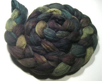 Hand dyed Polwarth & tussah silk hand painted roving 4.8 oz Pine Forest - wool combed top spinning felting fiber - earthy green brown wool