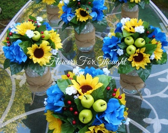 Rustic Sunflower Table Arrangement in Mason Jar, Blue and Yellow Wedding Decoration, 1 Reception Flower Centerpiece