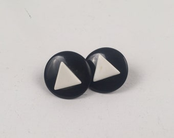 Vintage 1980s Black Round Earrings with White Triangle