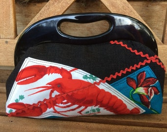 Hand made Red lobster vintage fabric bag