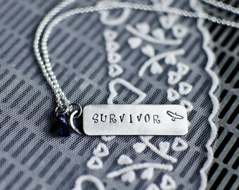 Sterling Silver Necklace   Bar Necklace   Stamped Necklace   Inspirational Necklace   Eco Friendly Gifts   Everyday Necklace   Survivor