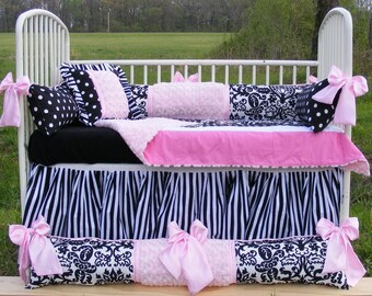 Gorgeous Baby Bedding Light Pink Rose Cuddle Damask Stripes and Pock a Dot