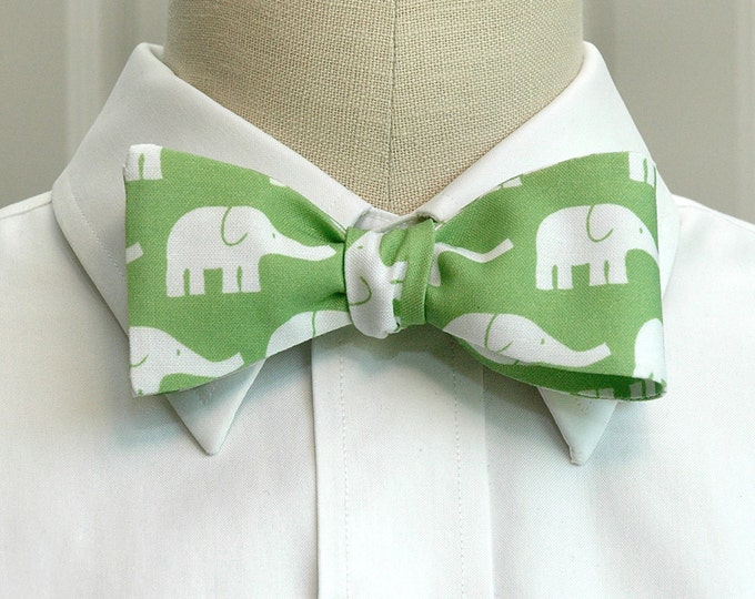 Men's Bow Tie, apple green with white elephants, zoo wedding bow tie, elephant lover gift, elephants bow tie, groomsmen gift, groom bow tie