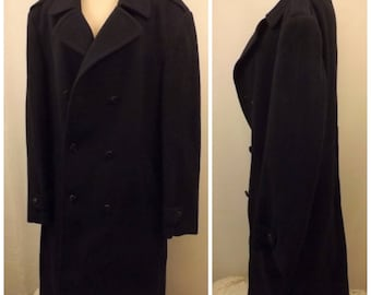 80'S C & A Wool Top Coat or Overcoat Dark Blue Size 48