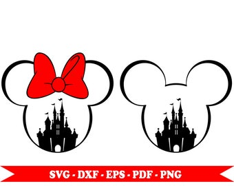 Castle svg Disney Mickey Mouse, Minnie Mouse svg, files in format svg, dxf, png, pdf, eps . For Silhouette Cameo, Cricut, vinyl, embroidery