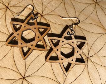 Celtic Star Wooden Earrings - Alder Wood - Sacred Geometry - Wood Cut Earrings - Sterling Silver