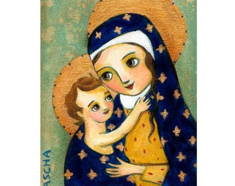 Mother and Child MARY and Baby JESUS iconic religious PRINT poster painting Christmas