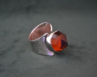 Sterling Silver Ring with Cognac Color Topaz, Women's Silver Ring with Cognac Topaz, Gift for Her