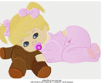 baby girl machine embroidery pattern