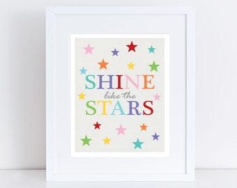 baby nursery art print - shine like the stars - 10x8 or 5x7 baby room decor space, typographic print, boys room girls room, colourful bright