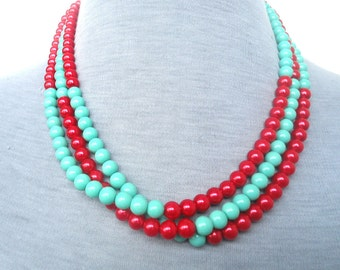Red and Turquoise Pearl Necklace,Triple Strands Necklace,Wedding Jewelry, Glass Pearl Necklace,Pearl Necklace,Bridesmaid Necklace,Jewelry,