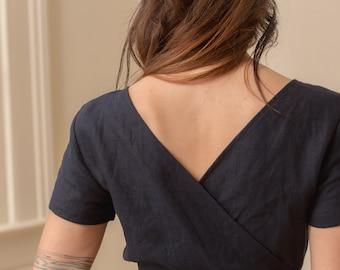 Linen - Jumpsuit, Short Sleeve, Wrap Back, Cropped Leg, Linen Jumpsuit
