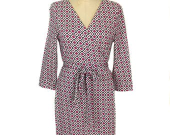 vintage 1990's DIANE von FURSTENBERG wrap dress / cotton blend / geometric print / women's vintage dress / tag size 12