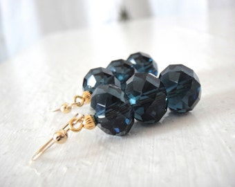 Sparkly Navy Blue Crystals on Gold or Silver Earrings
