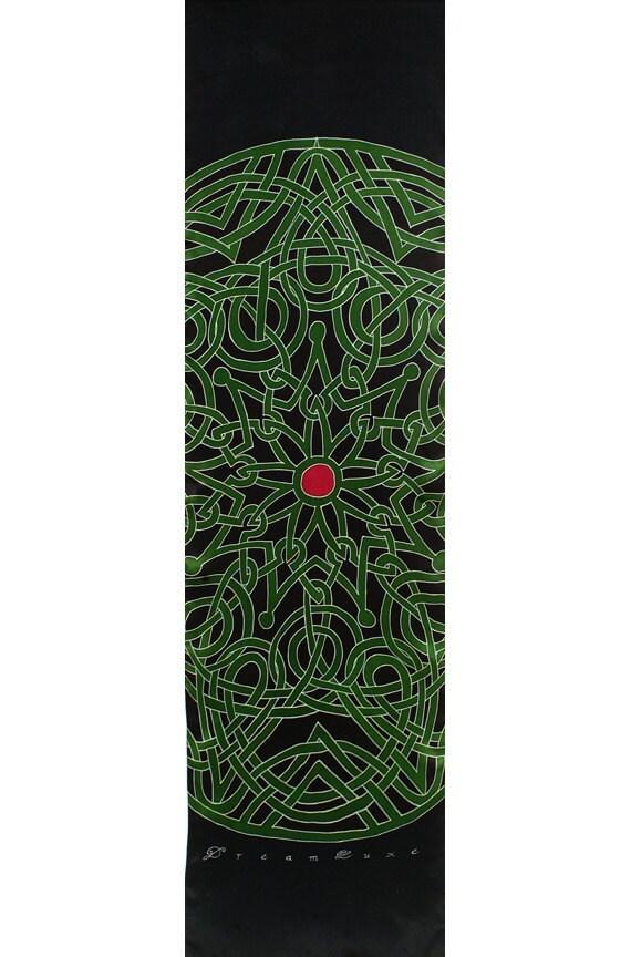 Celtic design hand painted large Mandala silk scarf