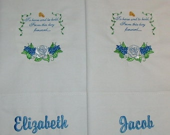 Set of 2 Personalized Embroidered Pillowcases