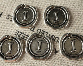 Alphabet letter I wax seal charm silver vintage style jewellery supplies