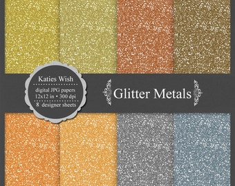 Metallic Colored Glitter digital paper kit, CU OK, instant download file for digital scrapbooking, bronze, brass, copper