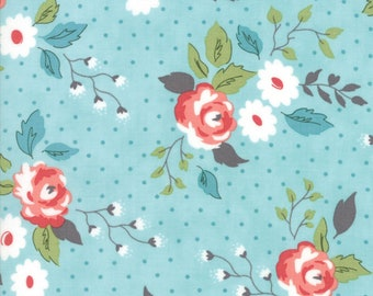 Nest - Aqua Full Bloom Fabric - Lella Boutique - Sold by Half Yard