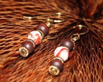 BOHO Gold Drop Earrings / Orange and Brown Earrings / Sister Gift / Xmas Wife / Dangling Earrings / BOHO Earrings / Orange and Wood Earrings