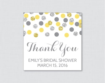 Yellow and Silver Bridal Shower Favor Tags Printable - Yellow and Gray Glitter Personalized Favor Tags Bridal Shower - Silver Glitter 0001-Y
