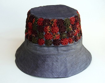 Womens Hat Bucket Hat Travel Holiday Hat Patchwork Embroidered Silk Fabric Hat Multi Color Summer Spring Hat Grey Gray Sk7