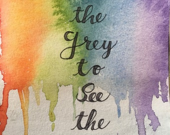 Original and only watercolor painting rainbow
