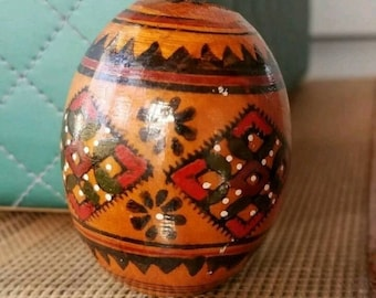 on sale Vintage Wooden Easter Egg  Hand Painted lacquer egg Ukranian Folk Art / Russian egg Wood Egg spring decor