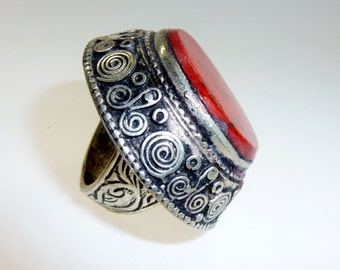 Big Red Tribal Ring
