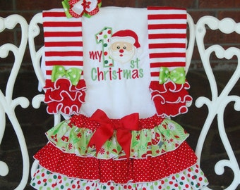 4 pc. Baby Girl Santa Christmas Outfit! My 1st Christmas outfit for baby girls/ Baby Girl First Christmas Outfit/Santa Christmas Outfit