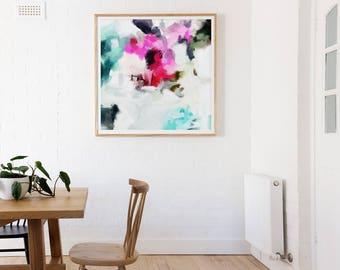 Faith, 6x6-36x36in, Abstract Fine Art Print, abstract print, blue abstract, pink abstract