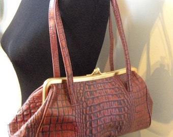 Vintage Genuine Leather and Brass ~ Faux Alligator Purse ~ Carpet Bag Style ~ Oxblood Brown ~ Preston And York