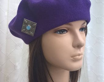 Arts & Crafts pure wool felted beret tam cap in royal purple with antique blue silver brooch