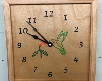 Wood Hummingbird Clock